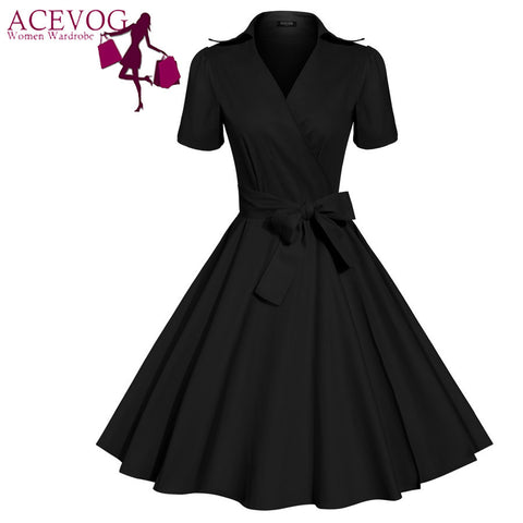 ACEVOG Brand Women Dress Newest Fashion Vintage Tunic Casual Summer Mid Calf Long Swing Dresses For Lady Elegant Clothing PLUS SIZE - Brides & Bridesmaids - Wedding, Bridal, Prom, Formal Gown
