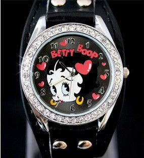 CLEARANCE - DOORCRASHER girls cute cartoon Betty boop with drill heart leather wristwatch Alternative Measures