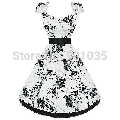CLEARANCE - Free Shipping Black or White Floral Print Swing Dress Retro Vintage Rockabilly Wedding Formal