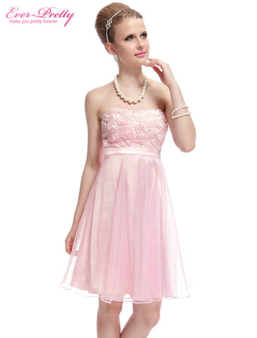 03979 New Strapless Girl's Cute Pink Flower Padded Short Homecoming Dress Party Dresses Alternative Measures - Brides & Bridesmaids - Wedding, Bridal, Prom, Formal Gown