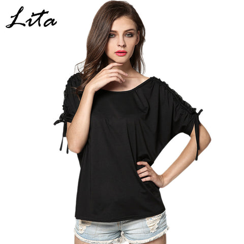 2015 Hot Selling Fashion Women Summer Lady T-shirts Short Sleeve Solid Loose Cool Casual T-shirt Tops 29