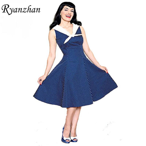 2015 Summer Elegant Audrey Hepburn Style Women Vintage Sailor Collar Polka Dot Dress Retro 50s 60s Rockabilly Swing Pin up Dress