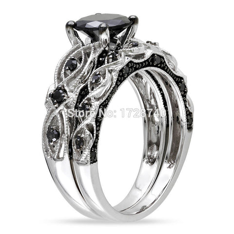 CLEARANCE - MODSQUID STOCK: Vintage Design Round Cut Sapphire 10K White Black Gold Filled Women Wedding Ring Sets Jewelry Engagement Ring