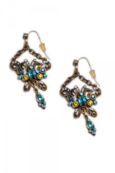 Exotic Blue Green Butterfly Earrings