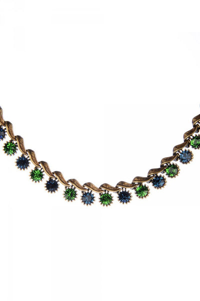 Monica Necklace in Deep Green and Sapphire Blue