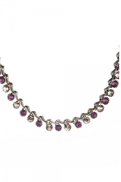 Monica Necklace in Lavender and Crystal