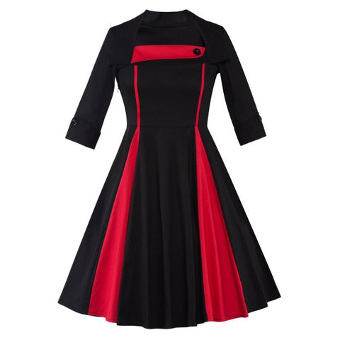 Color Block Vintage Swing Dress - Black And Red S