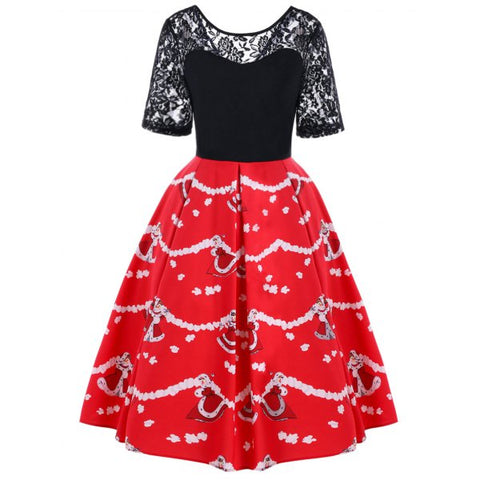 Christmas Lace Yoke 50s Swing Dress - Black And Red L