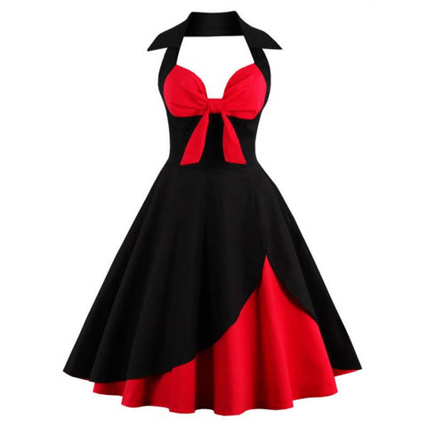 Halter Corset Vintage Rockabilly Swing Dress - Red With Black 3xl