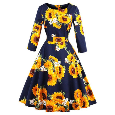 Vintage Sunflower Print Fit and Flare Swing Dress - Purplish Blue M