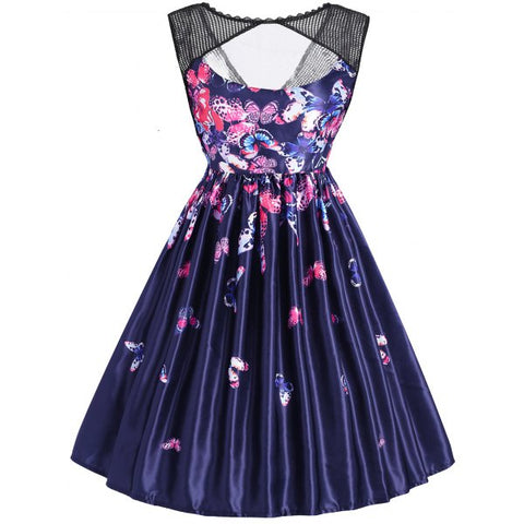 Butterfly Print Sleeveless Mesh Panel Vintage Dress - Blue S