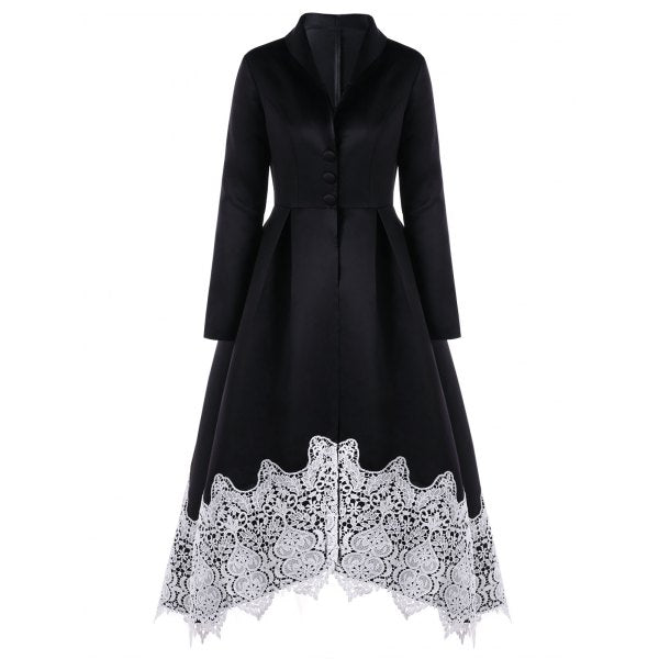 Vintage Lace Insert Skirted Coat - Black M