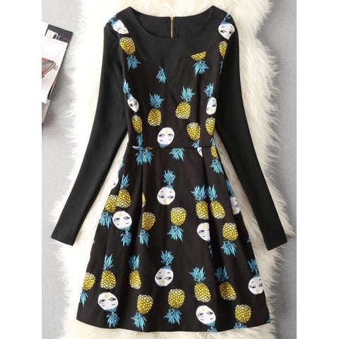 Cartoon Pineapple Print Fit and Flare Dress - Black Xl