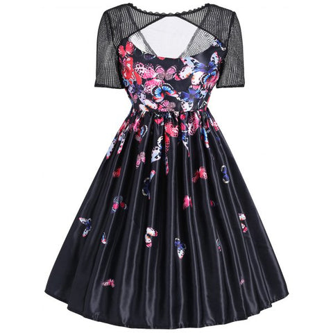 Mesh Panel Butterfly Print Vintage Dress - Black S