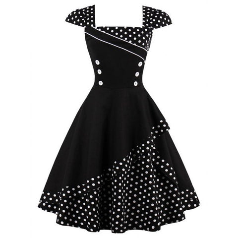 Buttoned Polka Dot Vintage Corset Dress - Black L