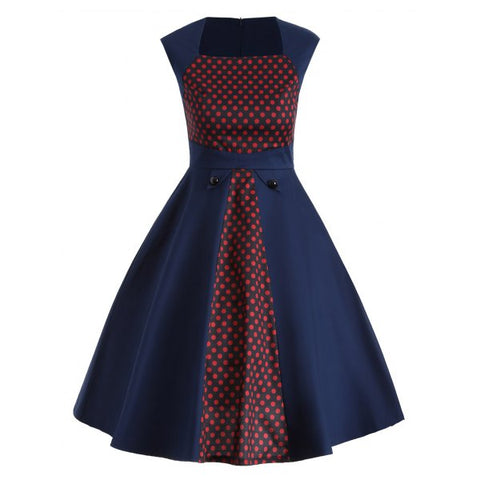Vintage Polka Dot Color Block Swing Dress - Deep Blue S