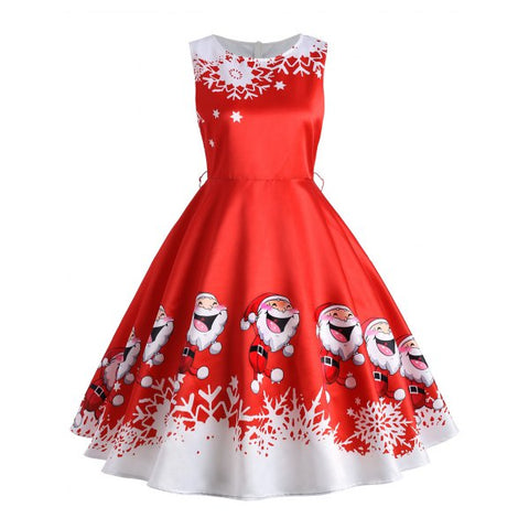 Santa Claus Print Vintage Sleeveless Flare Dress - Red M