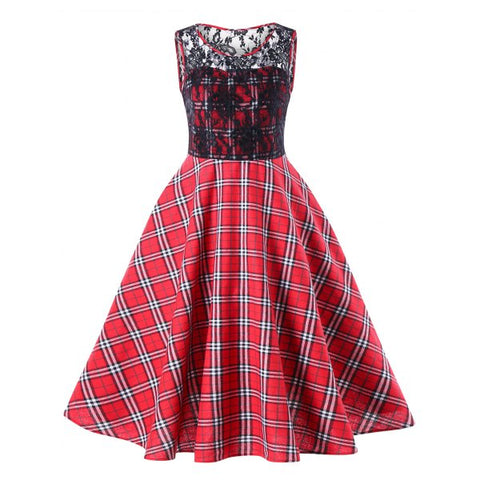 Lace Trim Plaid 50s Swing Dress - Red M