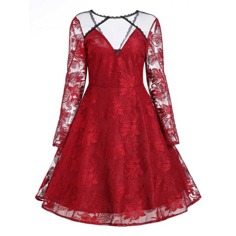 Floral Lace Panel Overlay Vintage Dress - Red S