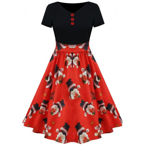 Christmas Santa and Star Print Flare Dress - Red S