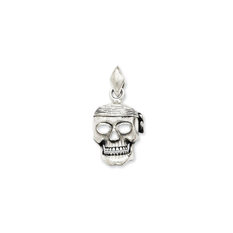 CLEARANCE - MODSQUID STOCK: Sterling Silver Skull w/Bandana Pendant