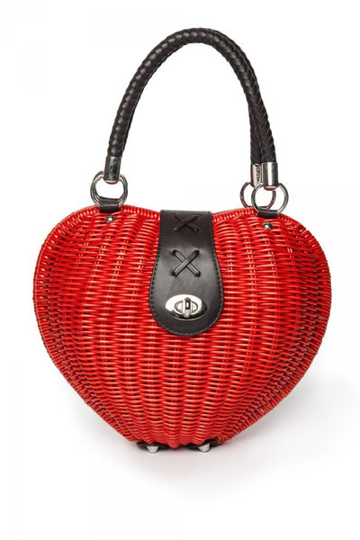 Wicker Heart Purse in Red