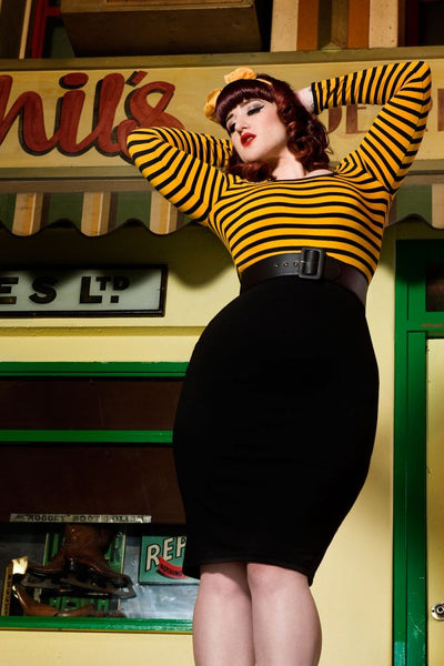 Hotrod Honey Dress in Gold and Black Stripe Knit - Plus Size