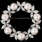 Antique Silver Round Cubic Zirconia & White Pearl Wreath Brooch 2502