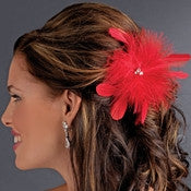 Bridal Feather Fascinator Hair Clip Brooch 442 ( Red Black Ivory White or Cafe)