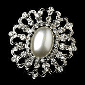 * Antique Silver White Pearl Brooch 30683