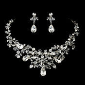 Enchanting Silver Clear Crystal Necklace & Earring Set 9786