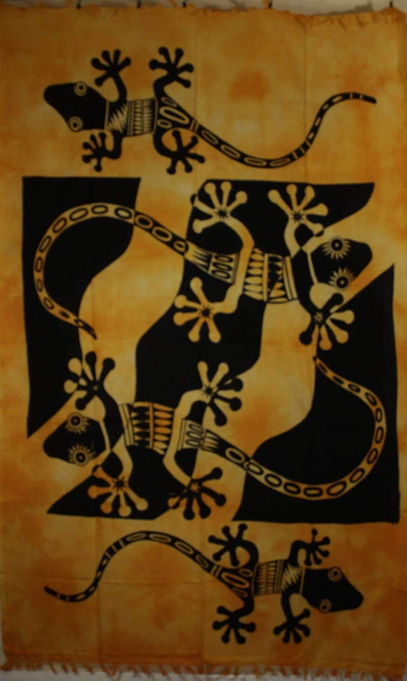 Orange Tribal Salamander Tapestry