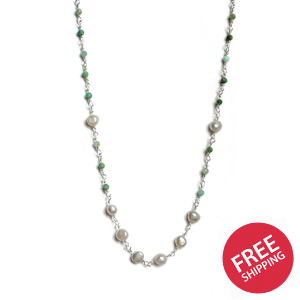 Amazonite & Freshwater Pearl Chain Sterling Silver Necklace