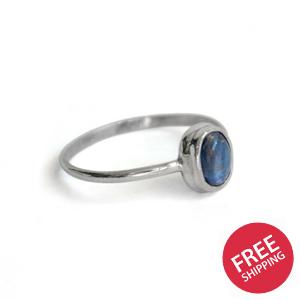 Kyanite Dainty Bezel Sterling Silver Ring
