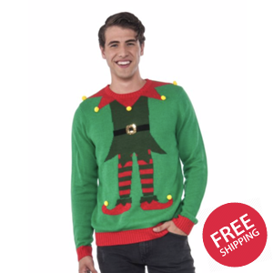 Green Elf Adult Ugly Christmas Sweater