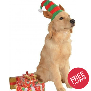 Elf Hat with Ears Pet Christmas Costume