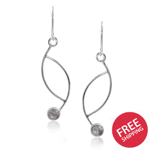 Ellipse Rainbow Moonstone Sterling Silver Fishhook Earrings