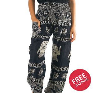 Black ELEPHANT Women Boho & Hippie Harem Pants