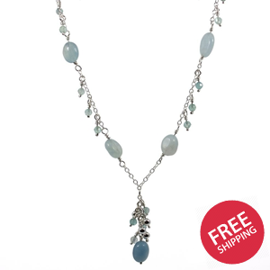 Aquamarine and Apatite Charm Sterling Silver Necklace
