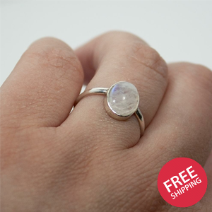 Rainbow Moonstone Open Bezel Sterling Silver Ring