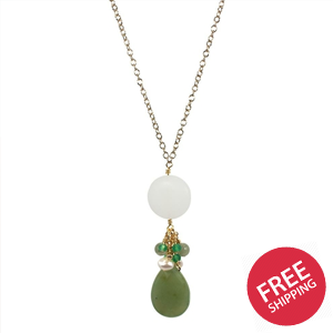 Jade and Sea Glass Drop Pendant Necklace