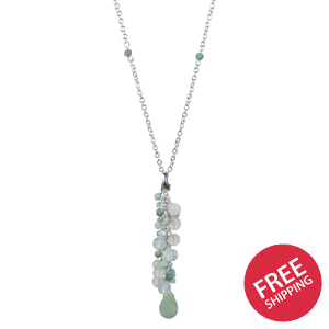 Frosty Opalite and Amazonite Drop Charm Necklace