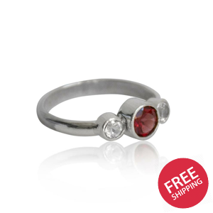 Garnet and Topaz Trio Sterling Silver Ring