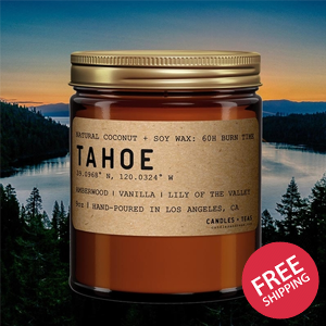 Lake Tahoe: California Scented Candle (Amberwood, Vanilla, Lily of the Valley)