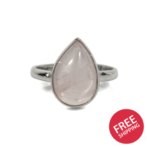 Pear Rose Quartz Sterling Silver Ring