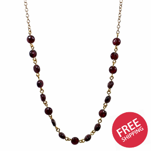 Garnet Coin Chain Necklace