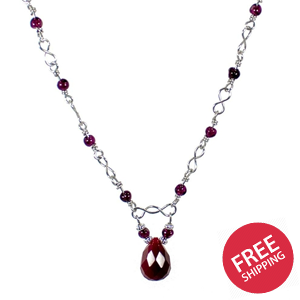 Garnet and Ruby Quartz Teardrop Beaded Necklace