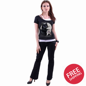 YIN YANG CATS - 2in1 Off Shoulder Top Black