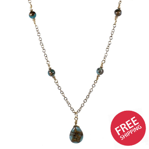 Golden Aqua Quartz Teardrop Pendant Necklace