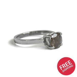 Labradorite Basket Solitaire Sterling Silver Ring